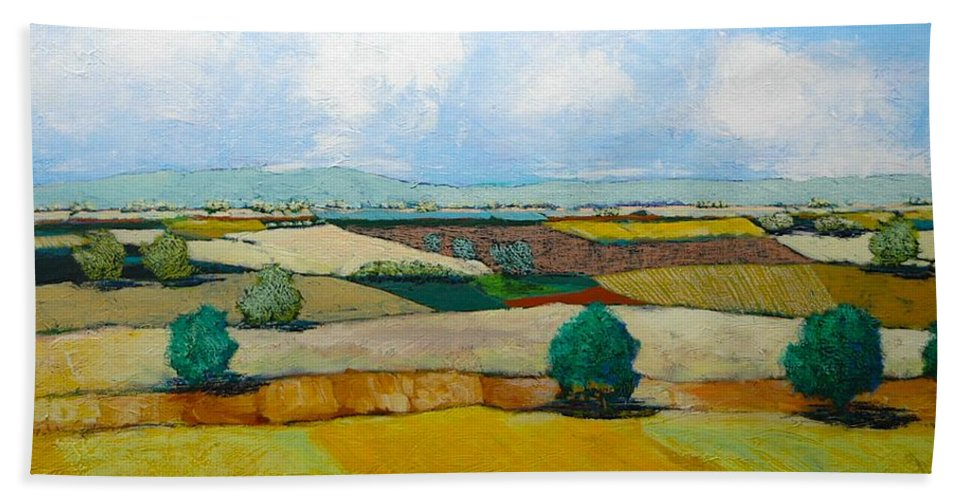 Landscape Beach Towel featuring the painting Sears Point by Allan P Friedlander