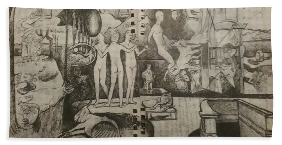 Orions Belt Beach Towel featuring the drawing Second half of sketch for, Time immutable, OrionsBelt, and the New Madrid Straight by Jude Darrien