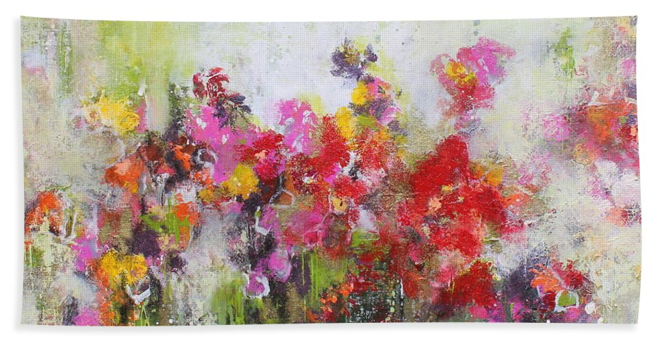Flowers Beach Towel featuring the mixed media Seeds of love by Claudia Gantenbein