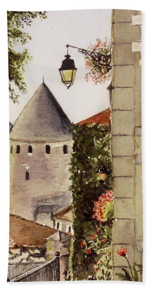France Beach Towel featuring the painting Semur en Auxois by Mary Ellen Mueller Legault