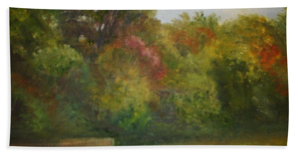 September Beach Towel featuring the painting September in Smithville Park by Sheila Mashaw