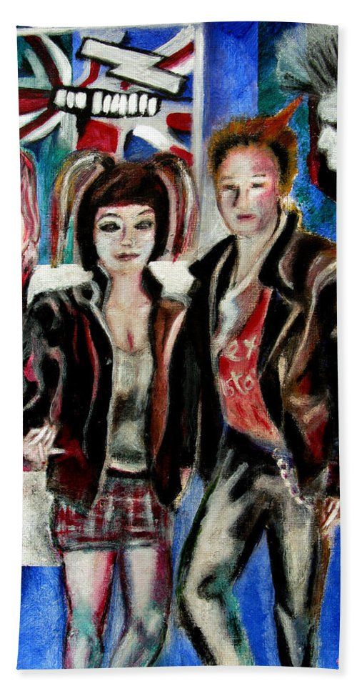 People Beach Towel featuring the painting Sheena is a punk rocker by Tom Conway