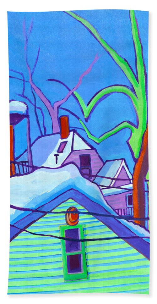 Buildings Beach Towel featuring the painting Sheffield Winter by Debra Bretton Robinson