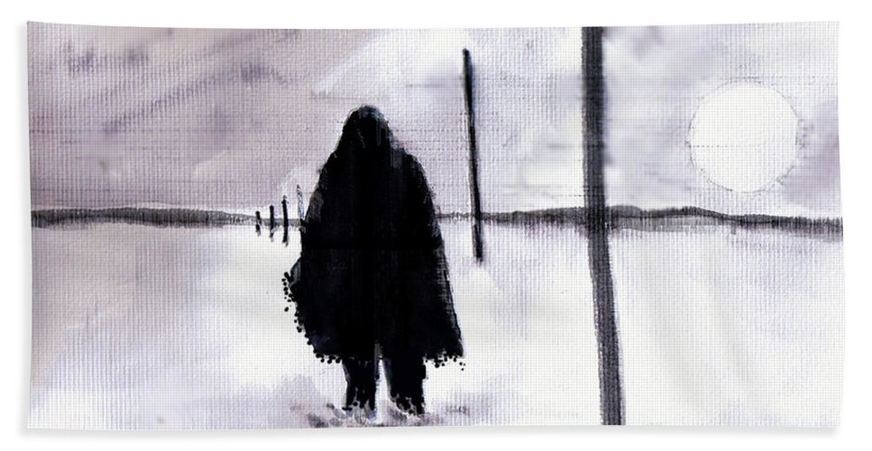 Siberia Beach Towel featuring the drawing Siberian Stroll-Dr. Zhivago by Seth Weaver