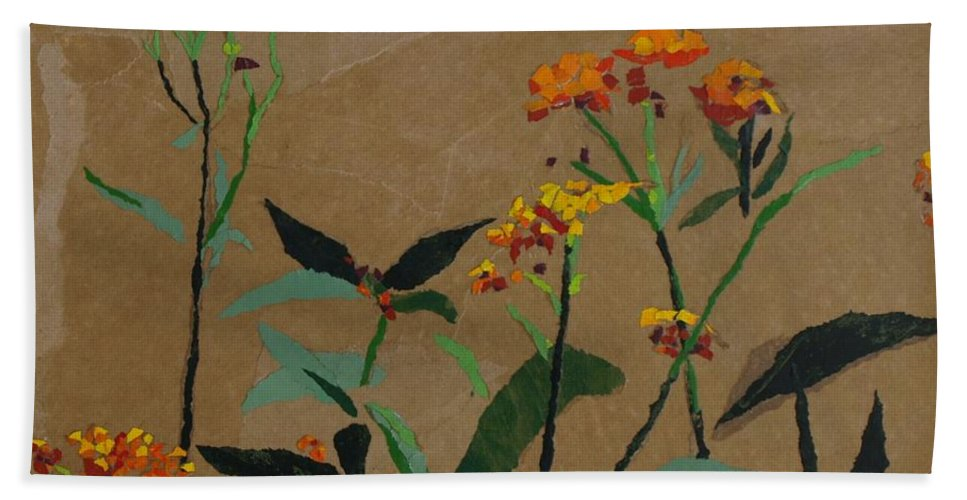 Floral Recycled Collage Beach Towel featuring the painting Smith Garden by Leah Tomaino