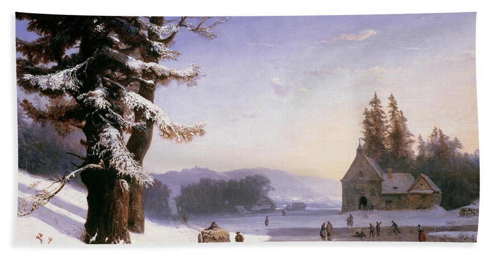 Wagon Beach Towel featuring the painting Snow Scene In The South Of France, 1868 by Josephine Bowes
