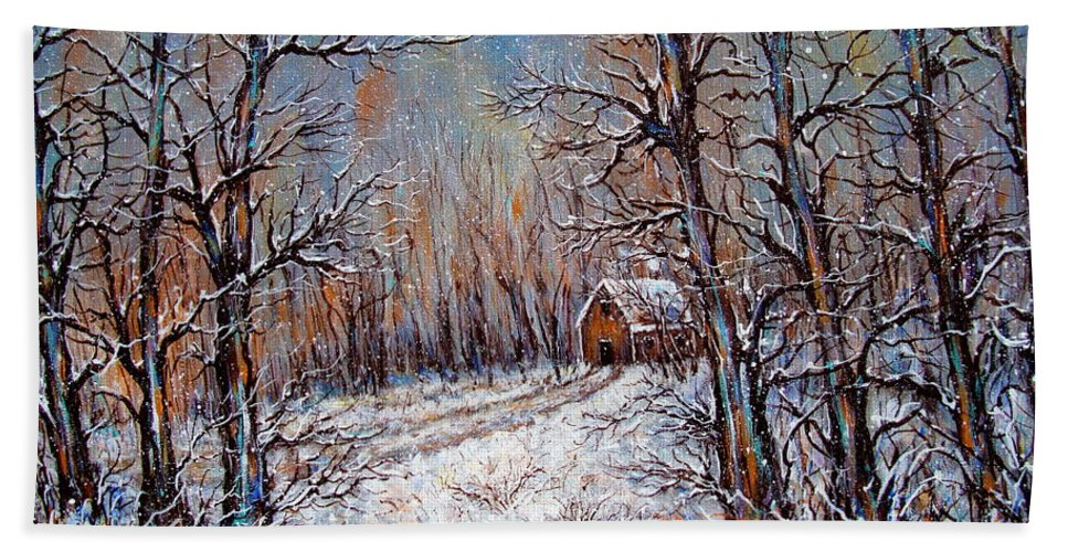 Landscape Beach Towel featuring the painting Snowing in the Woods by Natalie Holland