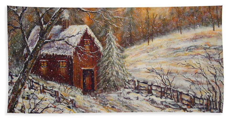 Landscape Beach Towel featuring the painting Snowy Sunset by Natalie Holland