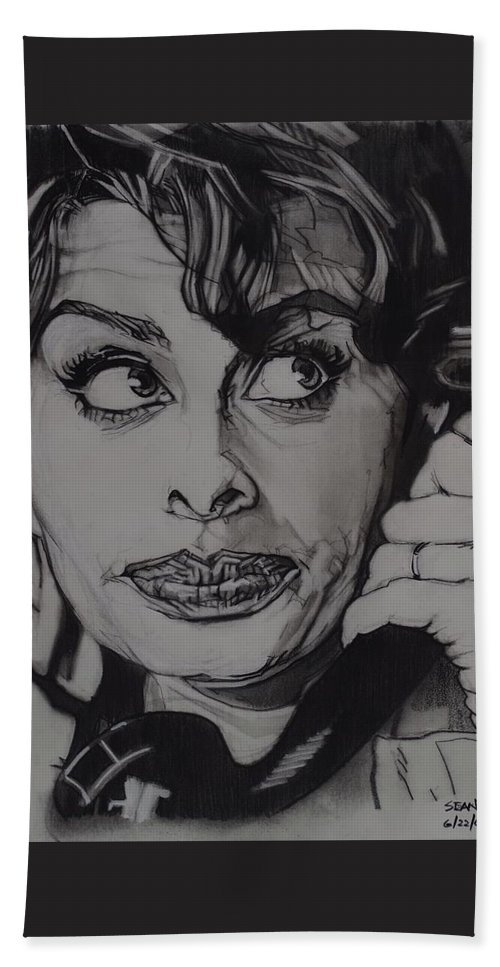Charcoal On Paper Beach Towel featuring the drawing Sophia Loren Telephones by Sean Connolly