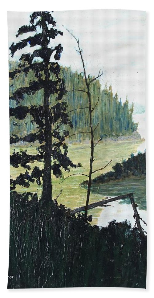 Sudbury Beach Towel featuring the painting South of Sudbury by Ian MacDonald