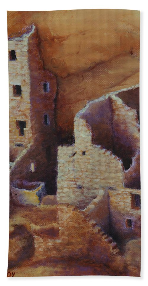 Anasazi Beach Towel featuring the painting Square Tower Ruins by Jerry McElroy