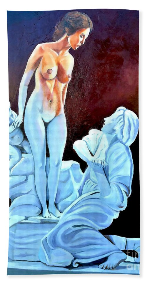 Women Beach Towel featuring the painting Statue 2 by Jose Manuel Abraham