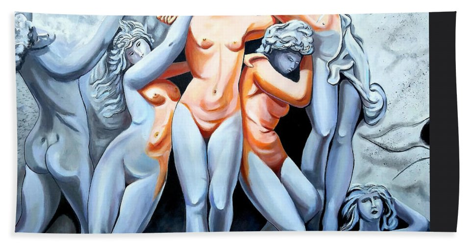 Statue Women Beach Towel featuring the painting Statue 3 by Jose Manuel Abraham