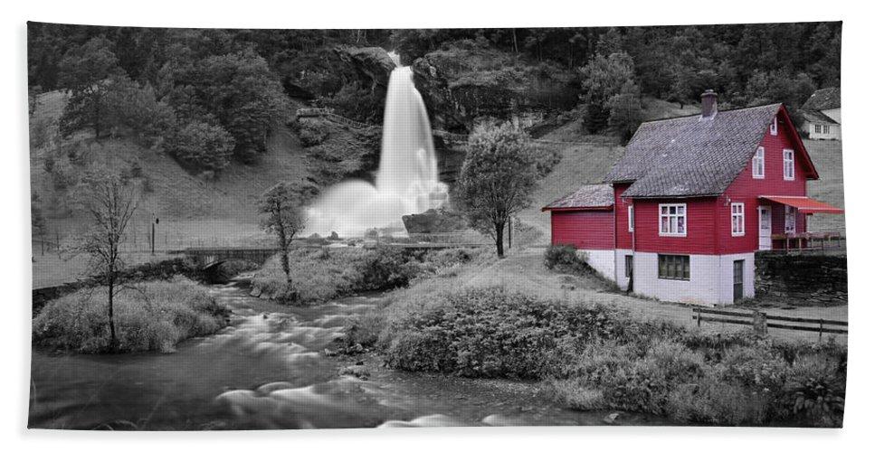 Beach Towel featuring the photograph Steinsdalsfossen by Pop