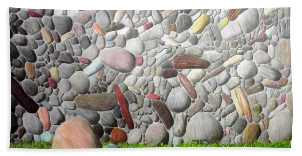 Stones Beach Towel featuring the painting Stoned Wall by A Robert Malcom