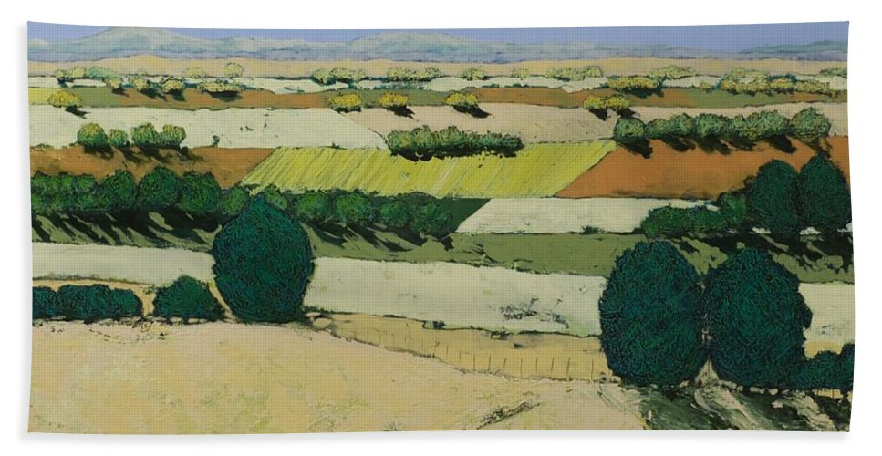 Landscape Beach Towel featuring the painting Summer Candy by Allan P Friedlander