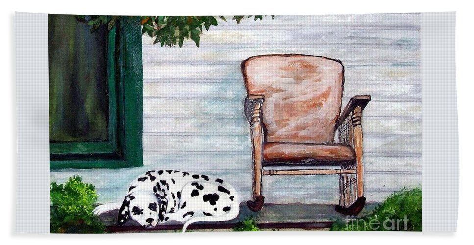 Dog Beach Towel featuring the painting Summer Evening by Jacki McGovern