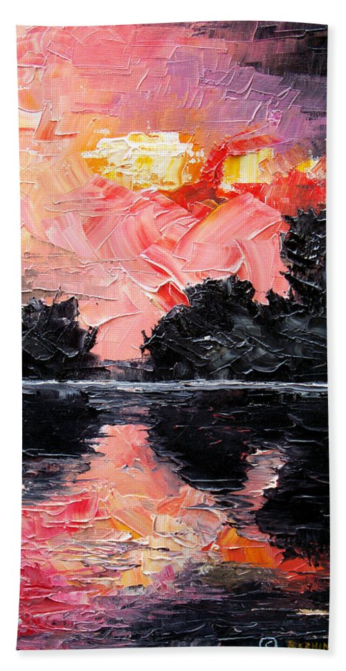 Lake After Storm Beach Towel featuring the painting Sunset. After storm. by Sergey Bezhinets