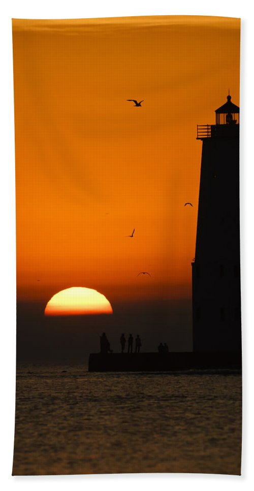 3scape Beach Towel featuring the photograph Sunset at Frankfort North Breakwater Lighthouse by Adam Romanowicz