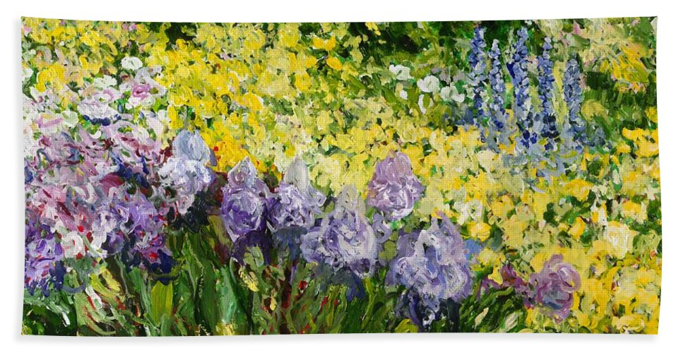 Landscape Beach Towel featuring the painting Sunshine Blossoms by Allan P Friedlander