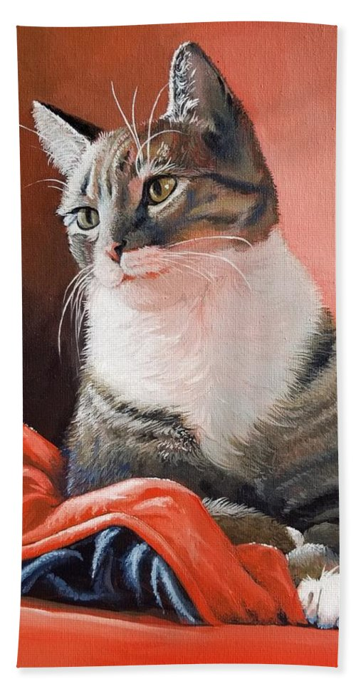 Cat Beach Towel featuring the painting Tabby Kitty by Jennifer McDuffie