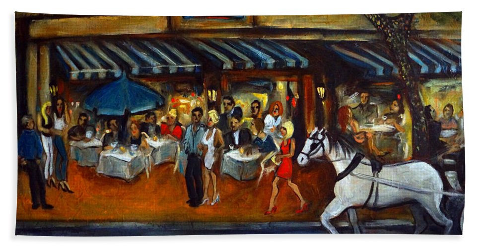 Street Scene Beach Towel featuring the painting The Avenue by Valerie Vescovi