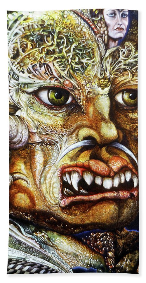 Surrealism Fantastic+realism Mythology Myth Beast Religion Beach Towel featuring the painting The Beast Of Babylon II by Otto Rapp