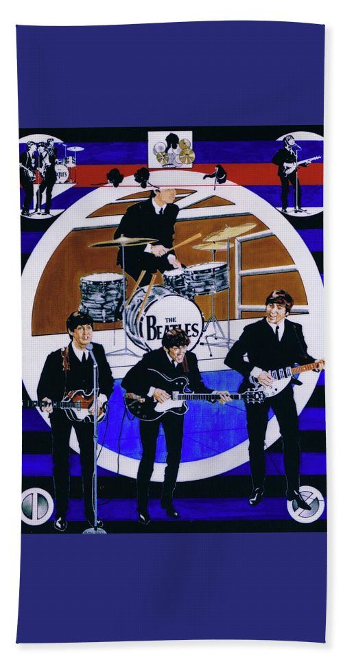The Beatles Live Beach Towel featuring the drawing The Beatles - Live On The Ed Sullivan Show by Sean Connolly