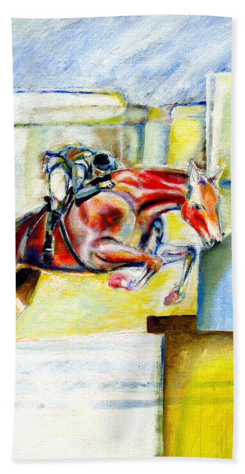 Horse Beach Towel featuring the painting The Equestrian Horse and Rider by Tom Conway