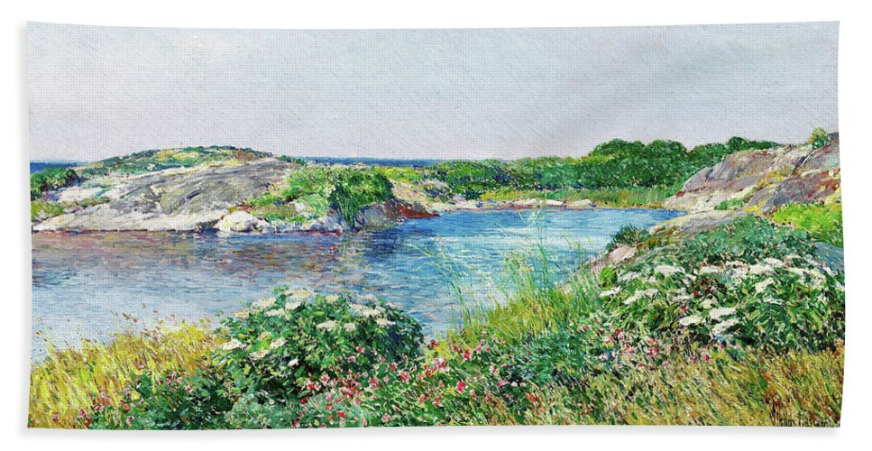The Little Pond Beach Towel featuring the painting The Little Pond, Appledore - Digital Remastered Edition by Frederick Childe Hassam
