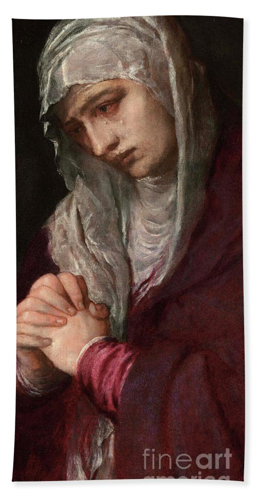 Titian Beach Towel featuring the painting The Mater Dolorosa by Titian