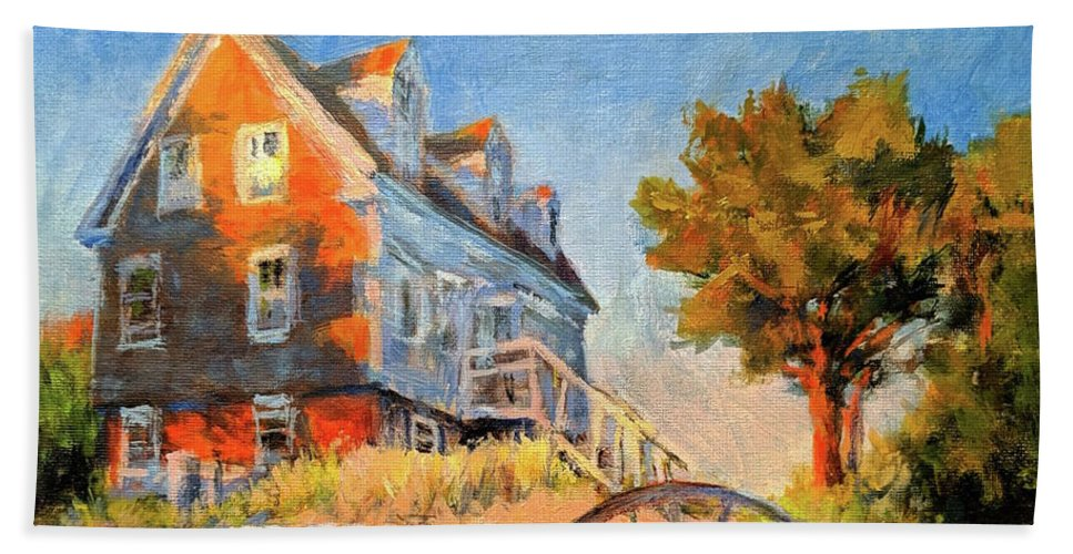 Cape Cod Beach Towel featuring the painting The Old Silva Place No. 2 by Peter Salwen
