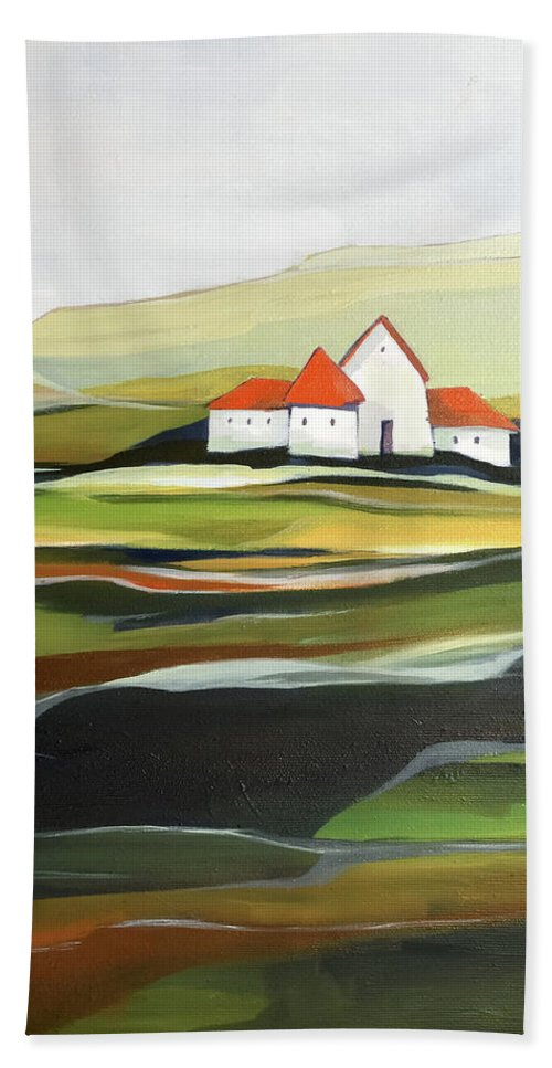 Oil Painting Beach Towel featuring the painting The quiet land by Aniko Hencz