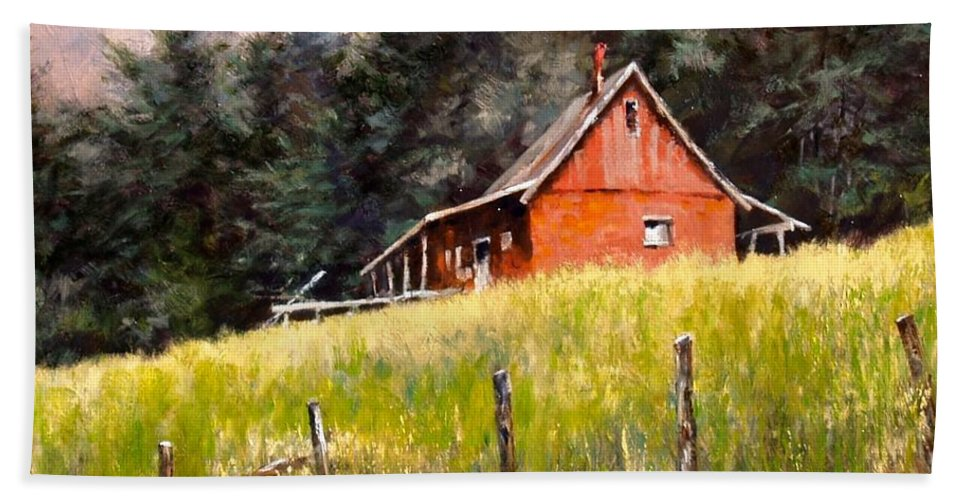 Landscape Beach Towel featuring the painting The Red Coach Stop by Jim Gola