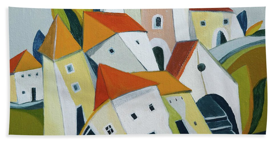 Town Beach Towel featuring the painting The Small Town by Aniko Hencz