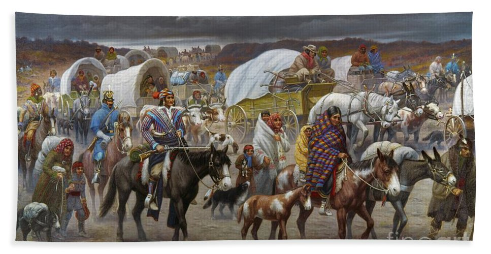 1838 Beach Towel featuring the painting The Trail Of Tears by Granger
