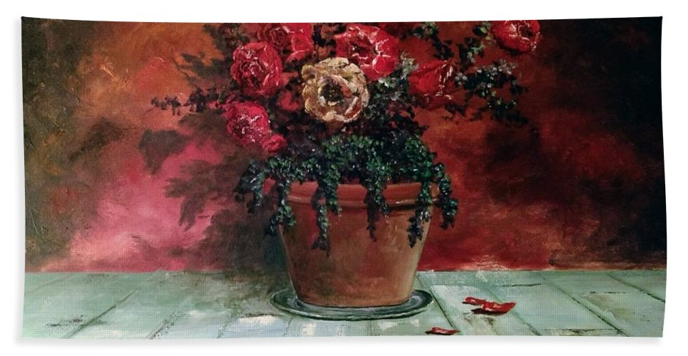 Still Life Beach Towel featuring the painting The Yellow Rose by Lee Piper
