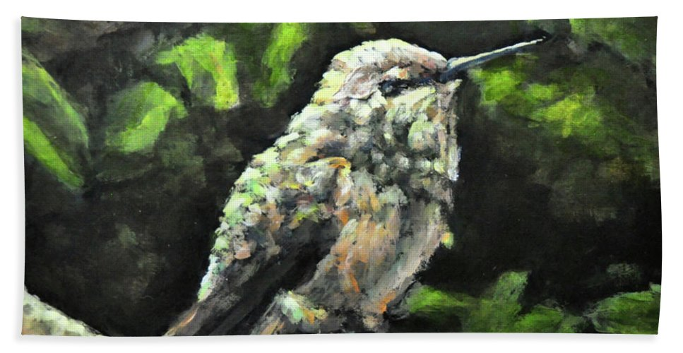 Hummingbird Beach Towel featuring the painting This Hummingbird Loves my Green Tree Maple by Eileen Fong
