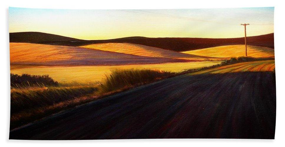 Sunrise Beach Sheet featuring the painting Three Sisters Morning Hills near Genesee Washington by Leonard Heid