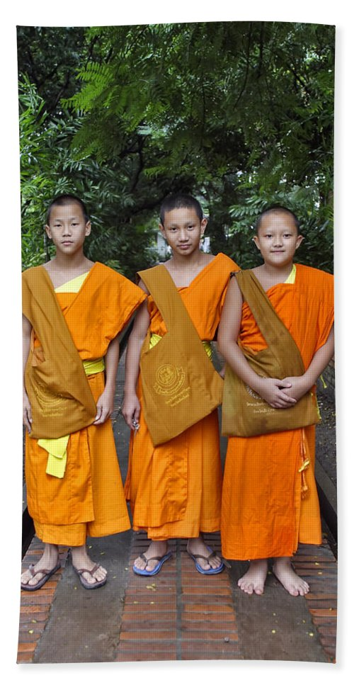3scape Beach Towel featuring the photograph Three Young Monks by Adam Romanowicz
