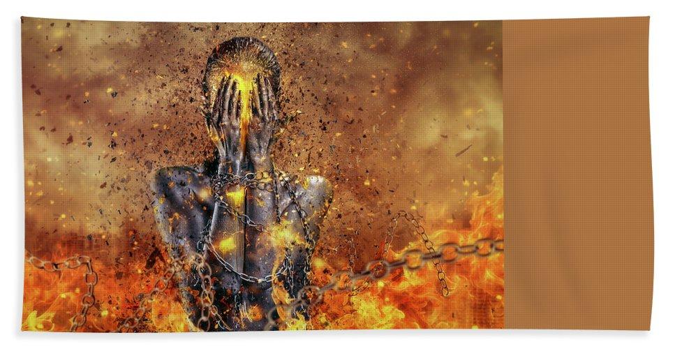 Surreal Beach Towel featuring the digital art Through Ashes Rise by Mario Sanchez Nevado