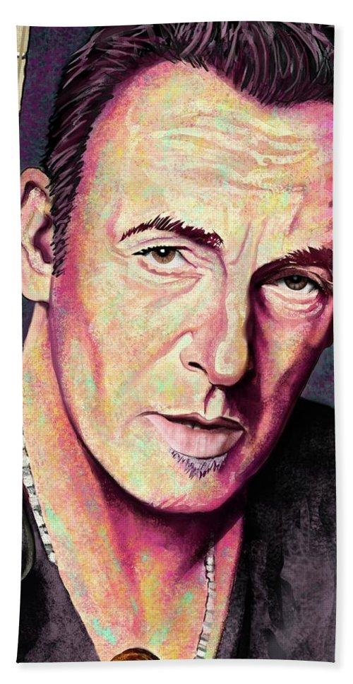 Bruce Springsteen Beach Towel featuring the digital art Thunder Road by Paul Dutka