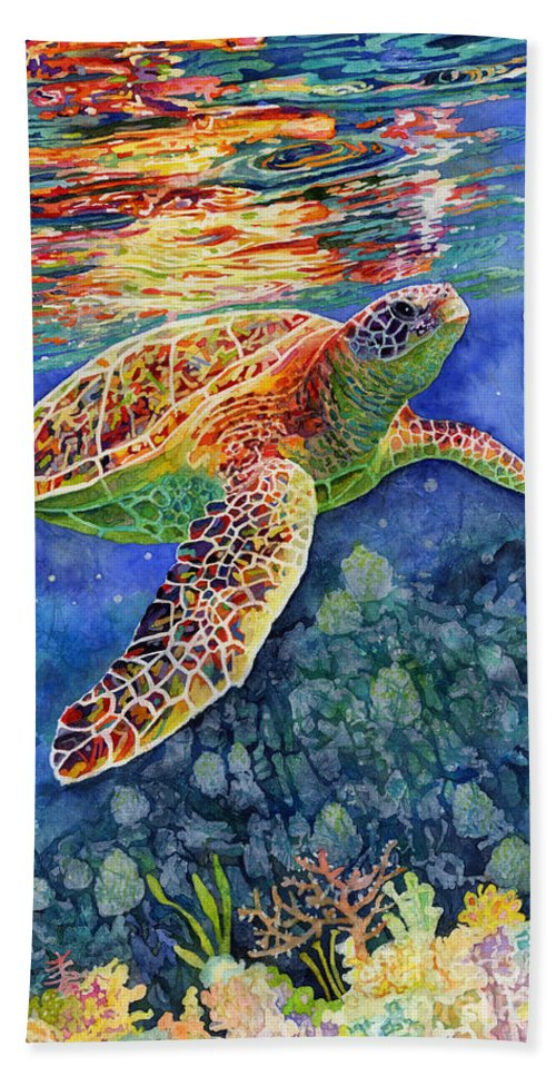 Turtle Beach Towel featuring the painting Turtle Reflections by Hailey E Herrera