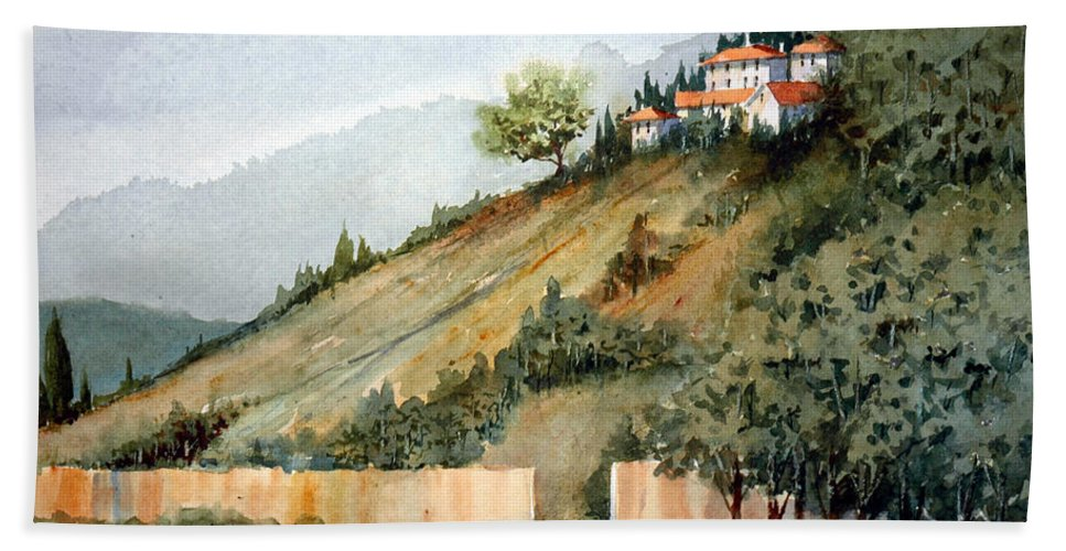 Tuscan Beach Towel featuring the painting Tuscan Hills by Charles Rowland