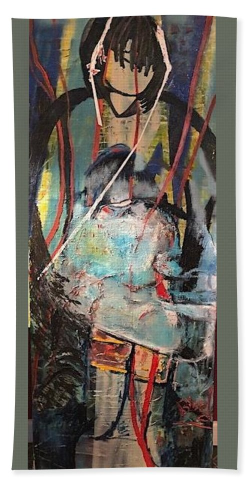 Native American Beach Towel featuring the painting Aiyana by Peggy Blood
