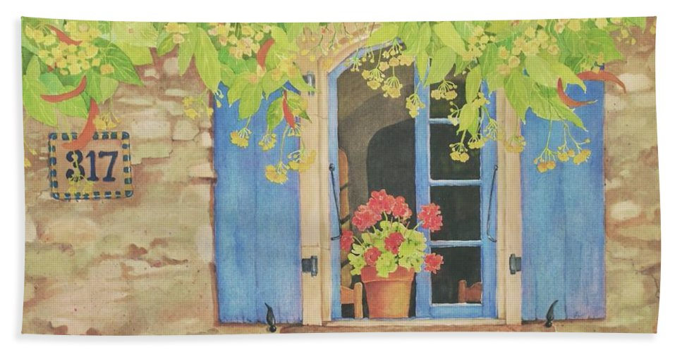 France Beach Towel featuring the painting Vacation Memory by Mary Ellen Mueller Legault