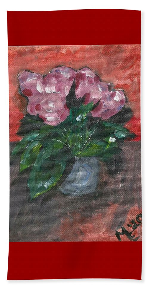 Rose Beach Towel featuring the painting Vase of Roses by Monica Resinger