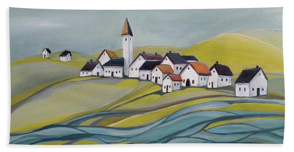 Village Beach Towel featuring the painting Village by the river by Aniko Hencz