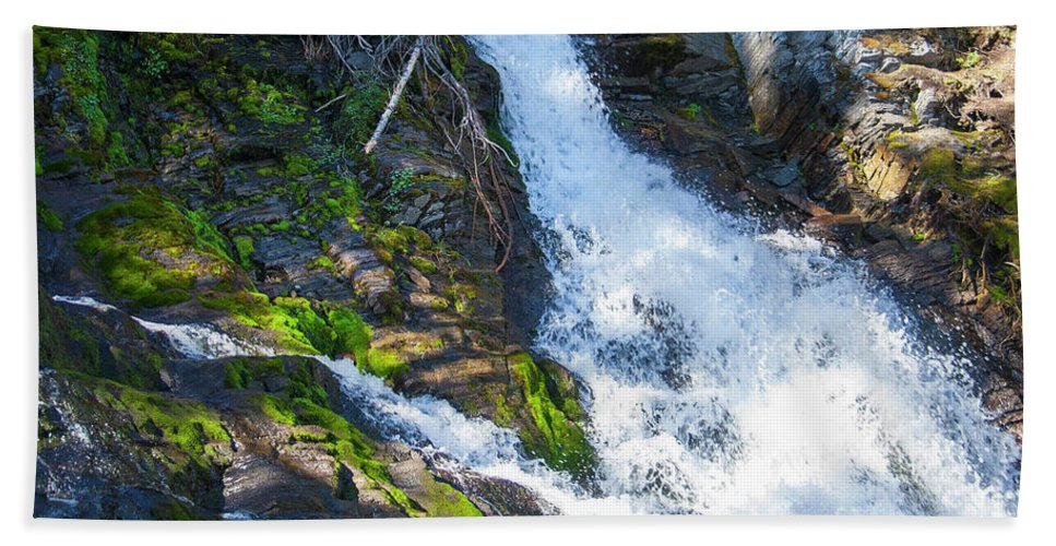 #rawsonlake #kananaskis #lake #alberta #canada #artprint #photography #hiking #trails #waterfall Beach Towel featuring the photograph Water Falls by Jacquelinemari