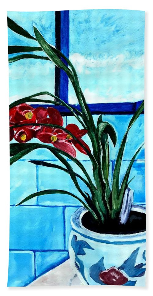 Still Life Beach Towel featuring the painting Welcome Flower by Andrew Johnson